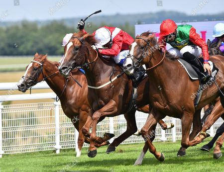 (R) Billesdon Brook (Sean Levey) wins The Theo Fennell Oak Tree Stakes from (C) Perfection (Silvestre De Sousa).