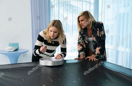 Kristen Bell as Veronica Mars and Eliza Coupe as Karsyn Farr