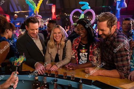 Jason Dohring as Logan Echolls, Kristen Bell as Veronica Mars, Kirby Howell-Baptiste as Nicole Malloy and Ryan Hansen as Dick Casablancas