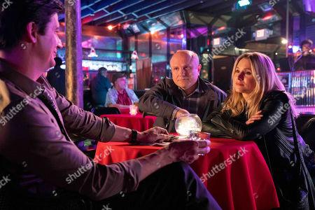 Stock Image of Ken Marino as Vinnie Van Lowe, Enrico Colantoni as Keith Mars and Kristen Bell as Veronica Mars