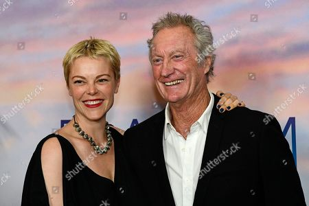 Stock Picture of Australian actress Matilda Brown (L) and her father Australian actor Bryan Brown pose during the premiere of the Australian film 'Palm Beach' in Sydney, Australia, 01 August 2019. The movie was directed by English-born Australian actress Rachel Ward.