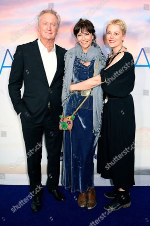 Stock Picture of Australian actress Matilda Brown (R), her mother English-born Australian actress Rachel Ward (C) and her father Australian actor Bryan Brown pose during the premiere of the Australian film 'Palm Beach' in Sydney, Australia, 01 August 2019. The movie was directed by Rachel Ward.