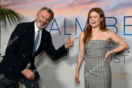 Sam Neill (L) and actress Francis Berry pose during the premiere of the Australian film 'Palm Beach' in Sydney, Australia, 01 August 2019. The movie was directed by English-born Australian actress Rachel Ward.