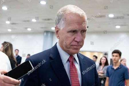 Republican Senator from North Carolina Thom Tillis walks near the Senate subway to the Senate floor for a series of votes, including a vote on a two-year budget plan, on Capitol Hill in Washington, DC, USA, 01 August 2019. The Senate passed a two-year budget plan, the Bipartisan Budget Act of 2019, that will increase spending from current levels by 320 billion USD and suspend the federal borrowing limit for two years.