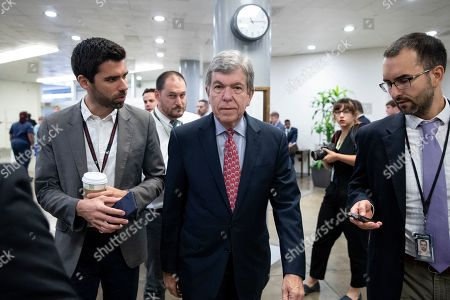 Republican Senator from Missouri Roy Blunt (C) walks near the Senate subway to the Senate floor for a series of votes, including a vote on a two-year budget plan, on Capitol Hill in Washington, DC, USA, 01 August 2019. The Senate passed a two-year budget plan, the Bipartisan Budget Act of 2019, that will increase spending from current levels by 320 billion USD and suspend the federal borrowing limit for two years.