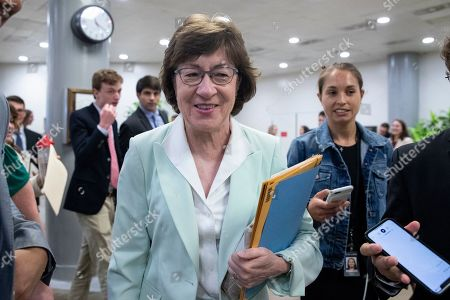 Republican Senator from Maine Susan Collins walks near the Senate subway to the Senate floor for a series of votes, including a vote on a two-year budget plan, on Capitol Hill in Washington, DC, USA, 01 August 2019. The Senate passed a two-year budget plan, the Bipartisan Budget Act of 2019, that will increase spending from current levels by 320 billion USD and suspend the federal borrowing limit for two years.