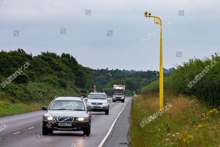 One of the new average speed cameras fitted this week on the A149 near Sandringham, Norfolk. Earlier this year Prince Philip had an accident on the same road.