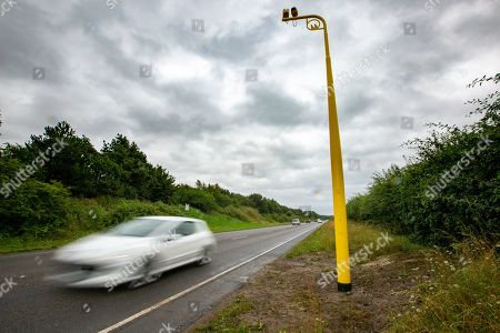 Stock Image of One of the new average speed cameras fitted this week on the A149 near Sandringham, Norfolk. Earlier this year Prince Philip had an accident on the same road.