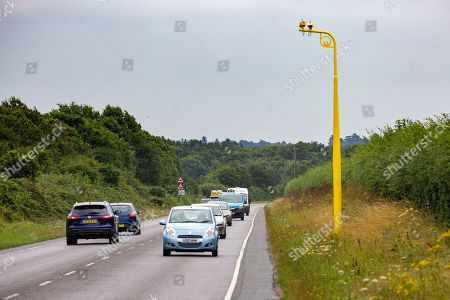 Stock Picture of One of the new average speed cameras fitted this week on the A149 near Sandringham, Norfolk. Earlier this year Prince Philip had an accident on the same road.