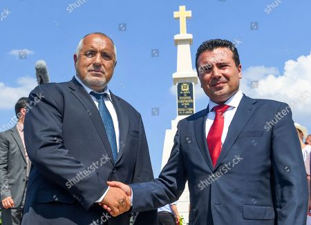 Bulgarian Prime Minister Boyko Borissov (L) and his North Macedonia's counterpart Zoran Zaev (R) react after a ceremony to unveil the newly built monument of Bulgarian Colonel Konstantin Kavarnaliev who died in betel of Dojran during the second Balkan war in 1913, near Dojran, Republic of North Macedonia, 01 August 2019. Bulgarian Prime Minister Boyko Borissov is in North Macedonia for a one-day official visit.
