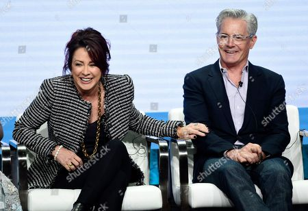 """Patricia Heaton, Kyle MacLachlan. Patricia Heaton, left, and Kyle MacLachlan, cast members in the CBS series """"Carol's Second Act,"""" share a laugh during the Summer 2019 Television Critics Association Press Tour at the Beverly Hilton, in Beverly Hills, Calif"""