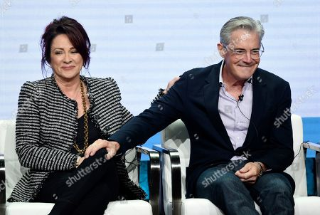 """Patricia Heaton, Kyle MacLachlan. Patricia Heaton, left, and Kyle MacLachlan, cast members in the CBS series """"Carol's Second Act,"""" share the stage during the Summer 2019 Television Critics Association Press Tour at the Beverly Hilton, in Beverly Hills, Calif"""