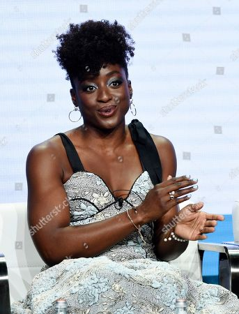 """Ito Aghayere, a cast member in the CBS series """"Carol's Second Act,"""" answers a question during the Summer 2019 Television Critics Association Press Tour at the Beverly Hilton, in Beverly Hills, Calif"""