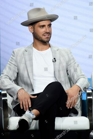 "Stock Photo of Jean-Luc Bilodeau, a cast member in the CBS series ""Carol's Second Act,"" takes part in a panel discussion during the Summer 2019 Television Critics Association Press Tour at the Beverly Hilton, in Beverly Hills, Calif"