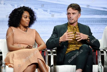 """Simone Missick, Wilson Bethel. Simone Missick, left, and Wilson Bethel, cast members in the CBS series """"All Rise,"""" take part in a panel discussion during the Summer 2019 Television Critics Association Press Tour at the Beverly Hilton, in Beverly Hills, Calif"""