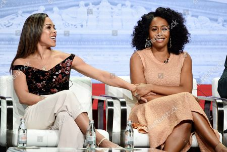 """Jessica Camacho, Simone Missick. Jessica Camacho, left, and Simone Missick, cast members in the CBS series """"All Rise,"""" take part in a panel discussion during the Summer 2019 Television Critics Association Press Tour at the Beverly Hilton, in Beverly Hills, Calif"""