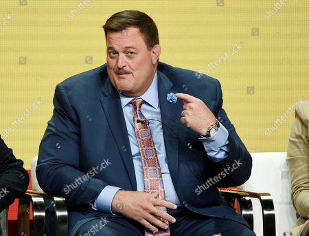 """Billy Gardell, a cast member in the CBS series """"Bob Hearts Abishola,"""" takes part in a panel discussion on the show during the Summer 2019 Television Critics Association Press Tour at the Beverly Hilton, in Beverly Hills, Calif"""