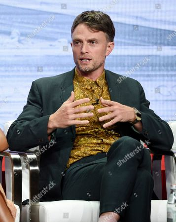 """Wilson Bethel, a cast member in the CBS series """"All Rise,"""" takes part in a panel discussion on the show during the Summer 2019 Television Critics Association Press Tour at the Beverly Hilton, in Beverly Hills, Calif"""
