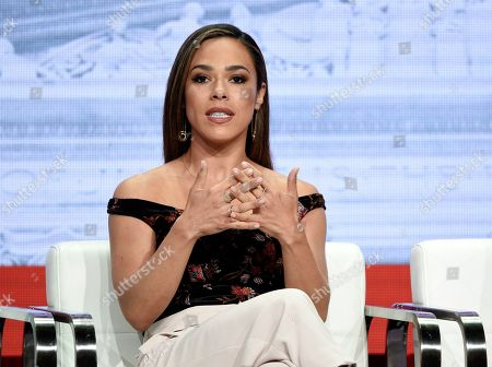 """Jessica Camacho, a cast member in the CBS series """"All Rise,"""" takes part in a panel discussion on the show during the Summer 2019 Television Critics Association Press Tour at the Beverly Hilton, in Beverly Hills, Calif"""