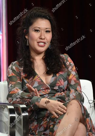 "Ruthie Ann Miles, a cast member in the CBS series ""All Rise,"" takes part in a panel discussion on the show during the Summer 2019 Television Critics Association Press Tour at the Beverly Hilton, in Beverly Hills, Calif"