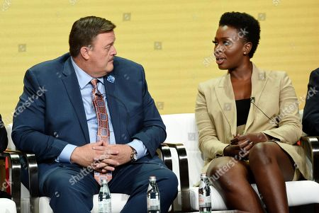 """Folake Olowofoyeku, Billy Gardell. Billy Gardell, left, and Folake Olowofoyeku, cast members in the CBS series """"Bob Hearts Abishola,"""" take part in a panel discussion on the show during the Summer 2019 Television Critics Association Press Tour at the Beverly Hilton, in Beverly Hills, Calif"""