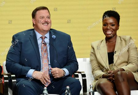 """Billy Gardell, Folake Olowofoyeku. Billy Gardell, left, and Folake Olowofoyeku, cast members in the CBS series """"Bob Hearts Abishola,"""" take part in a panel discussion on the show during the Summer 2019 Television Critics Association Press Tour at the Beverly Hilton, in Beverly Hills, Calif"""