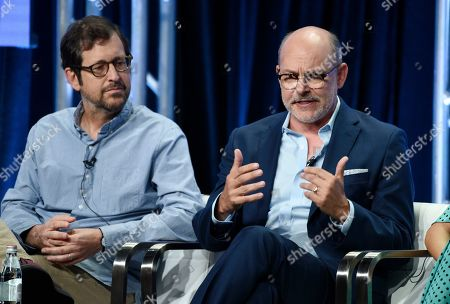 """Stock Image of Rob Corddry, Bill Martin. Rob Corddry, right, a cast member in the CBS series """"The Unicorn,"""" answers a question as executive producer Bill Martin looks on during the Summer 2019 Television Critics Association Press Tour at the Beverly Hilton, in Beverly Hills, Calif"""