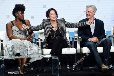 """Patricia Heaton, Ito Aghayere, Kyle MacLachlan. Patricia Heaton, center, star/executive producer of the CBS series """"Carol's Second Act,"""" answers a question as fellow cast member Ito Aghayere, left, and Kyle MacLachlan look on during the Summer 2019 Television Critics Association Press Tour at the Beverly Hilton, in Beverly Hills, Calif"""