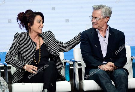 """Patricia Heaton, Kyle MacLachlan. Patricia Heaton, left, star/executive producer of the CBS series """"Carol's Second Act,"""" and fellow cast member Kyle MacLachlan take part in a panel discussion on the show during the Summer 2019 Television Critics Association Press Tour at the Beverly Hilton, in Beverly Hills, Calif"""