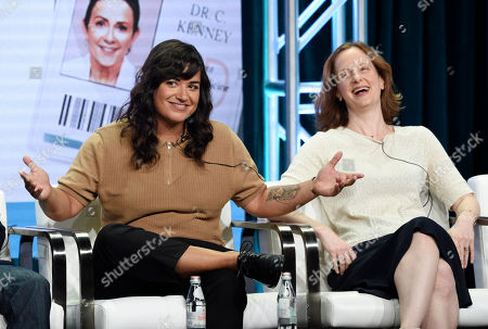 "Sabrina Jalees, Emily Halpern. Sabrina Jalees, left, a cast member in the CBS series ""Carol's Second Act,"" answers a question as executive producer Emily Halpern looks on during the Summer 2019 Television Critics Association Press Tour at the Beverly Hilton, in Beverly Hills, Calif"