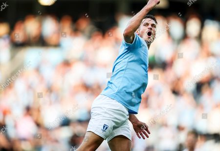 Malmo's Markus Rosenberg celebrates after scoring the 2-1 lead during the UEFA Europa League second qualifying round, second leg soccer match between Malmo FF and NK Domzale in Malmo, Sweden, 01 August 2019.