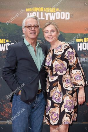 Christoph M. Ohrt and his wife Dana Golombek pose during the German premiere of 'Once Upon a Time in... Hollywood' in Berlin, Germany, 01 August 2019. The movie opens in German cinemas on 15 August.