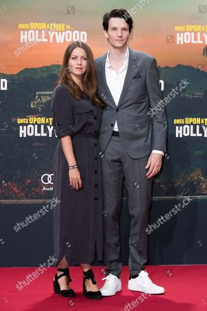 Alice Dwyer (L) and Sabin Tambrea pose during the German premiere of 'Once Upon a Time in... Hollywood' in Berlin, Germany, 01 August 2019. The movie opens in German cinemas on 15 August.