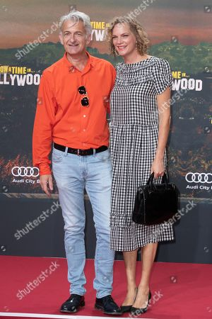 Stock Picture of Dominic Raacke (L) and Alexandra Rohleder pose during the German premiere of 'Once Upon a Time in... Hollywood' in Berlin, Germany, 01 August 2019. The movie opens in German cinemas on 15 August.