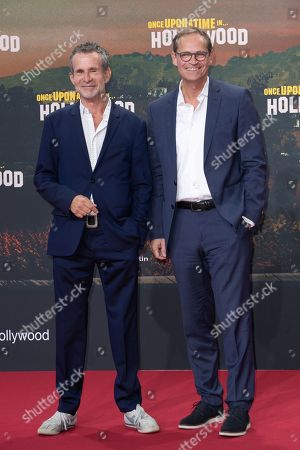 Ulrich Matthes (L) and Berlin Mayor Michael Mueller pose during the German premiere of 'Once Upon a Time in... Hollywood' in Berlin, Germany, 01 August 2019. The movie opens in German cinemas on 15 August.