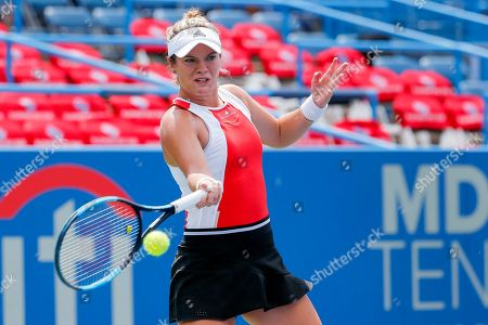Catherine McNally of the US in action against Christina McHale of the US during a match in the Citi Open tennis tournament at the Rock Creek Park Tennis Center in Washington, DC, USA, 01 August 2019.