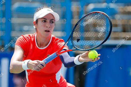 Christina McHale of the US in action against Catherine McNally of the US during a match in the Citi Open tennis tournament at the Rock Creek Park Tennis Center in Washington, DC, USA, 01 August 2019.