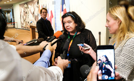 Karen Pierce (C), the United Kingdom's Ambassador to the UN, talks to reporters following a UN Security Council meeting about a recent missile launch by North Korea at United Nations headquarters in New York, New York, USA, 01 August 2019. According to reports on 31 July, North Korea test-launched multiple missiles.