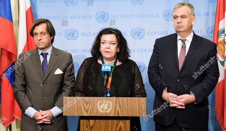 (L-R) Nicolas de Riviere, France's Ambassador to the United Nations, Karen Pierce, the United Kingdom's Ambassador to the UN, and Jurgen Schulz, Germany's Deputy Ambassador to the UN, deliver a statement to reporters following a UN Security Council meeting about a recent missile launch by North Korea at United Nations headquarters in New York, New York, USA, 01 August 2019. According to reports on 31 July, North Korea test-launched multiple missiles.