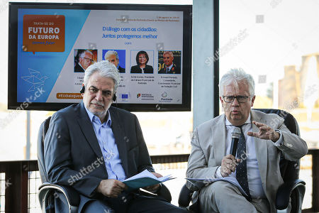 European Commissioner for Humanitarian Aid and Crisis Management Christos Stylianides (L) with Portuguese Minister of Internal Administration Eduardo Cabrita (R) during the dialogue with citizens 'Together we protect better', in Portimao, Portugal, 01 August 2019.