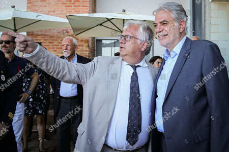 European Commissioner for Humanitarian Aid and Crisis Management Christos Stylianides (R) with Portuguese Minister of Internal Administration Eduardo Cabrita (2-R) during the dialogue with citizens 'Together we protect better', in Portimao, Portugal, 01 August 2019.