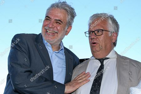 European Commissioner for Humanitarian Aid and Crisis Management Christos Stylianides (L) with Portuguese Minister of Internal Administration Eduardo Cabrita during the dialogue with citizens 'Together we protect better', in Portimao, Portugal, 01 August 2019.