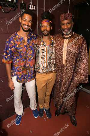 Alfred Enoch (Kaleo), Mbulelo Ndabeni (Ancestor/Ensemble) and Patrice Naiambana (Gweki)
