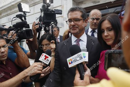 Lawyer Pedro Pierluisi addresses the media after an ordinary session to confirm his appointment as Secretary of Sate, in San Juan, Puerto Rico, 01 August 2019. If appointed as Secretary of State, Pierluisi will replace Governor Ricardo Rossello according to Puerto Rico's law, who will officially resign on the following day after a national crisis triggered by the leak of controversial private chats, if he gets the required number of votes. The Justice Secretary Wanda Vazquez will be next in line if the position of Secretary of State was not filled by 02 August.
