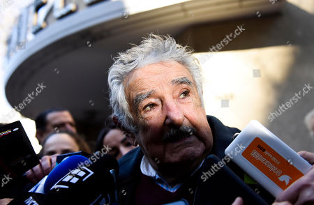 "Uruguay's former President Jose Mujica speaks to the press after attending the wake for first lady Maria Auxiliadora Delgado, wife of President Tabare Vazquez, in Montevideo, Uruguay, . Delgado died of a heart attack during the early morning hours. Mujica told the media, ""When you are Tabare's age, love is a sweet habit. And what comes to us? Loneliness"