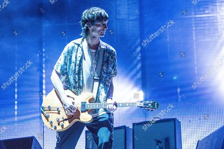 Nick Valensi of The Strokes performs on day one of Lollapalooza in Grant Park, in Chicago