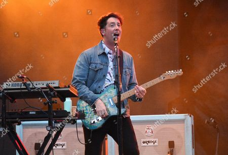 Stock Photo of Matthew Murphy of The Wombats performs at MetLife Stadium on Thursday, Aug.1, 2019, in East Rutherford, N.J