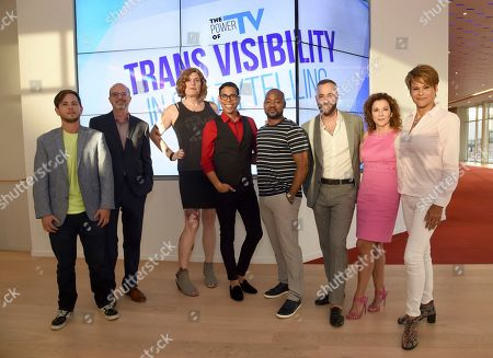Alex Blue Davis, Nick Adams, Lilly Wachowskis, Steven Canals, Brian Michael Smith, David Ambroz, Madeline Di Nonno, Alexandra Billings. Alex Blue Davis, from left, Nick Adams, Lilly Wachowskis, Steven Canals, Brian Michael Smith, David Ambroz, Madeline Di Nonno, and Alexandra Billings take part in The Power of TV: Trans Visibility in Storytelling, a Television Academy Foundation public event focused on representation of trans individuals in television and the pathways to increased visibility, at the Television Academy's Saban Media Center on in North Hollywood, Calif