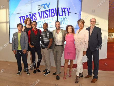 Stock Image of Alex Blue Davis, Lilly Wachowskis, Steven Canals, Brian Michael Smith, David Ambroz, Madeline Di Nonno, Alexandra Billings, Nick Adams. Alex Blue Davis, from left, Lilly Wachowskis, Steven Canals, Brian Michael Smith, David Ambroz, Madeline Di Nonno, Alexandra Billings, and Nick Adams take part in The Power of TV: Trans Visibility in Storytelling, a Television Academy Foundation public event focused on representation of trans individuals in television and the pathways to increased visibility, at the Television Academy's Saban Media Center on in North Hollywood, Calif