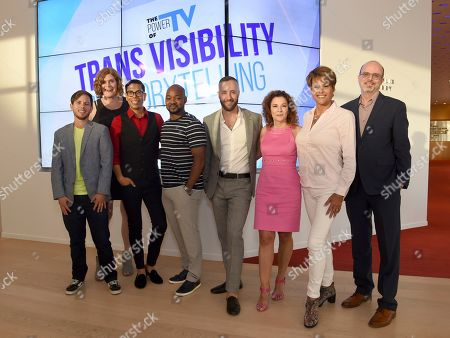 Alex Blue Davis, Lilly Wachowskis, Steven Canals, Brian Michael Smith, David Ambroz, Madeline Di Nonno, Alexandra Billings, Nick Adams. Alex Blue Davis, from left, Lilly Wachowskis, Steven Canals, Brian Michael Smith, David Ambroz, Madeline Di Nonno, Alexandra Billings, and Nick Adams take part in The Power of TV: Trans Visibility in Storytelling, a Television Academy Foundation public event focused on representation of trans individuals in television and the pathways to increased visibility, at the Television Academy's Saban Media Center on in North Hollywood, Calif